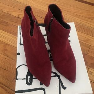 "2 1/2"" red suede booties"